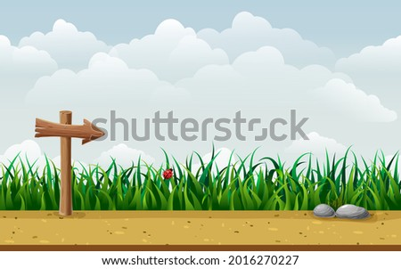 seamless nature landscape with wooden guidepost. endless parallax game background with signpost in grass, ground, stones, road and blue sky. cartoon countryside illustration. summer horizontal scene Stock photo ©