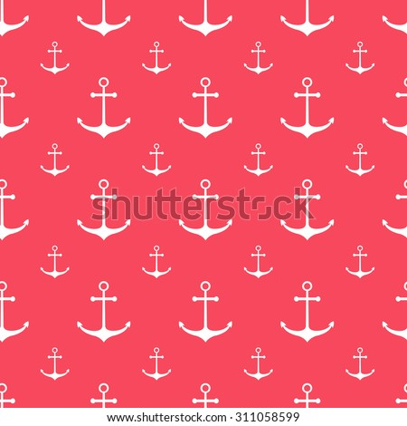 Seamless nautical background with anchors. Design element for wallpapers, web site background, baby shower invitation, birthday card, scrapbooking, fabric print etc. Vector illustration.