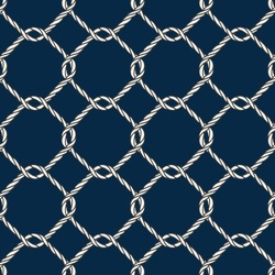 Seamless nautical rope knot pattern. Endless navy illustration with white fishing net ornament and twisted cord on dark blue backdrop. Trendy maritime style background. For fabric, wallpaper, wrapping