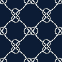 Seamless nautical rope pattern. Endless navy illustration with white loop ornament. Marine Carrick Bend knots on dark blue backdrop. Trendy maritime style background.
