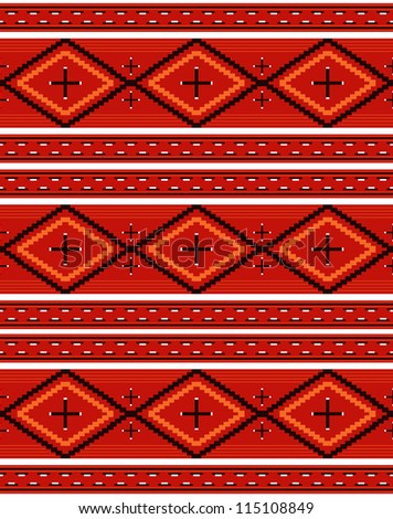 Seamless Navajo textile red pattern