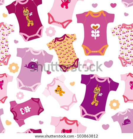 Seamless new born baby pink fashion girl pattern background in vector