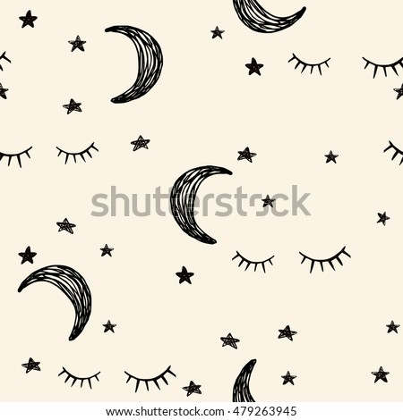 Seamless night pattern with cute lashes, moon and stars