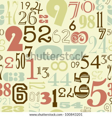 Seamless Numbers background in retro vintage style