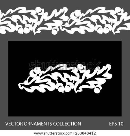 Seamless oak leaves ornament border pattern. Vector ornament collection
