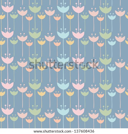 Seamless of colorful tulip flower background pattern , Vector illustration