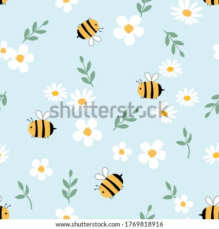 Seamless of daisy flower, cartoon bees and green leaf on a blue background vector illustration. Cute hand drawn floral pattern.