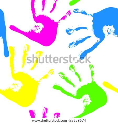 Seamless of handprints