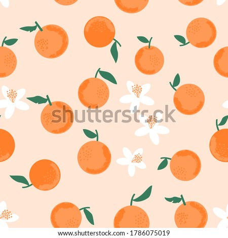 Seamless of orange with green leaves on pastel peach background vector illustration. Cute hand drawn fruit for print.