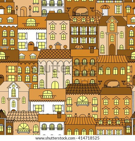 seamless old town pattern of...