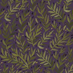 Seamless olive branch pattern on purple background