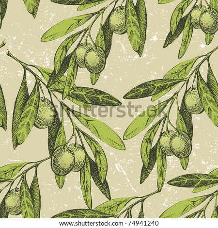 seamless olive branches