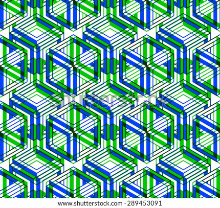 Seamless optical ornamental pattern with three-dimensional geometric figures. Intertwine colored EPS10 composition.