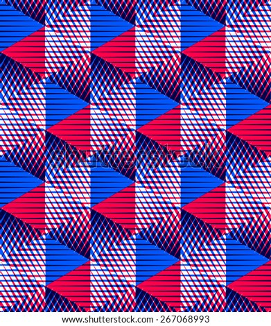 Seamless optical ornamental pattern with three-dimensional geometric figures. Intertwine vector EPS10 composition.