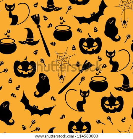 Seamless orange and black pattern with Halloween elements include in cat, ghost, spider and pumpkin. Vector illustration