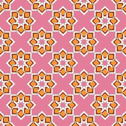 Seamless oriental pattern, bright lace arabesque. A print of curly stars with a silvery outline, a pink background. Fashionable and glamorous decoration of any of your bold advertising projects.