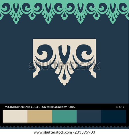 Seamless ornament border pattern. Vector ornament collection with color swatches