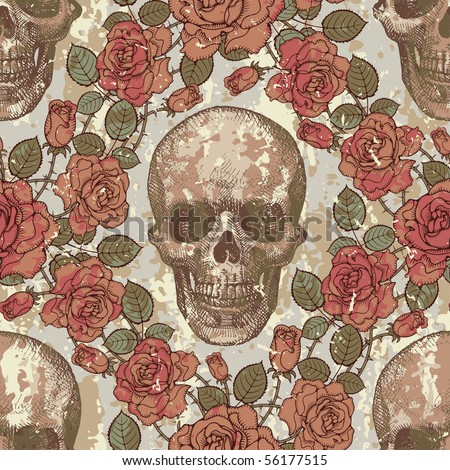 Seamless ornament in a retro style with skulls and roses - stock vector