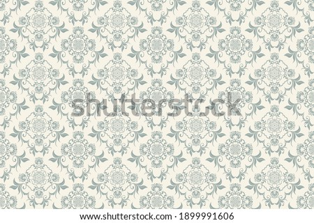 Seamless ornament on background. Floral ornament on background. Wallpaper pattern. Template for design of your interior. Vector illustration