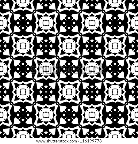 Seamless ornamental abstract retro pattern background black and white vector illustration