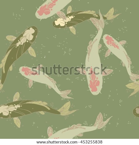 seamless ornamental fish koi
