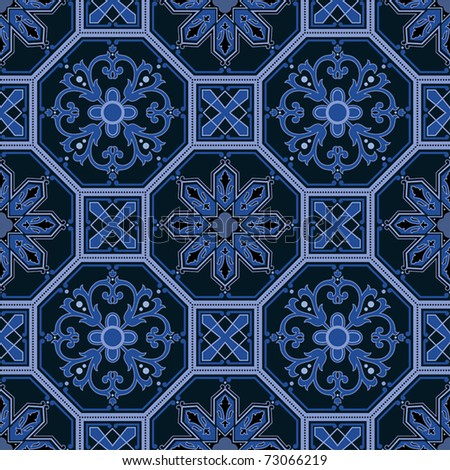 Seamless ornamental oriental pattern vector background