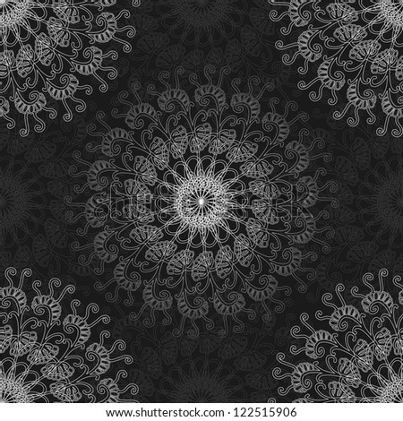 Seamless ornamental pattern,  kaleidoscopic floral pattern  with many details. Vector illustration.