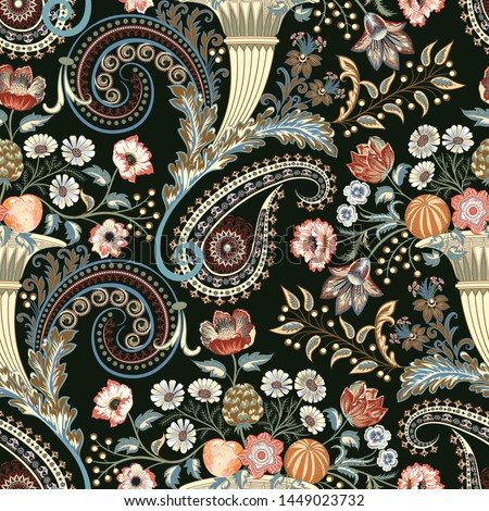 seamless ornate pattern with , paisley and curls cornucopia, decorative leaves,  bouquet of flowers daisy, roses, branch of mimosas, fruits orange and peach