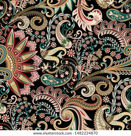 seamless ornate pattern with paisley, big and small curls, flowers, leaves, half decorative mandala