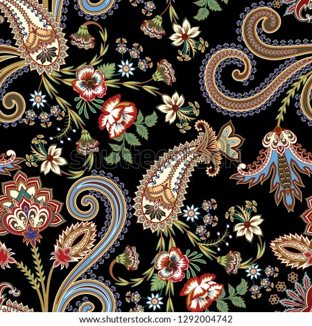 seamless ornate pattern with paisley,curls,flowers, leaves  on a dark background