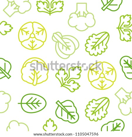 Seamless Outline vegetable pattern such as broccoli, lettuce, Chinese cabbage for wallpaper or use as wrapping paper