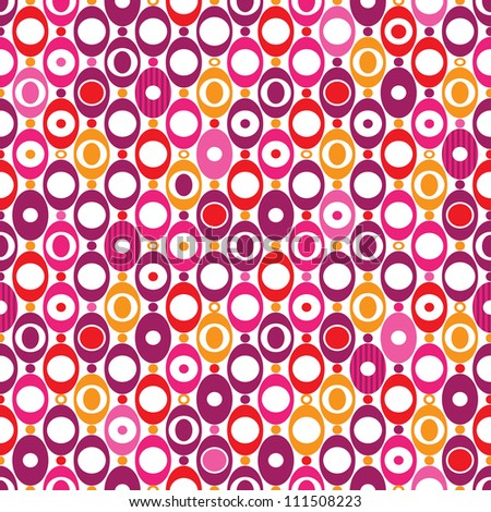 Seamless oval sphere seventies mod pattern background in vector