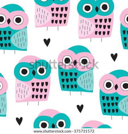 seamless owl bird pattern