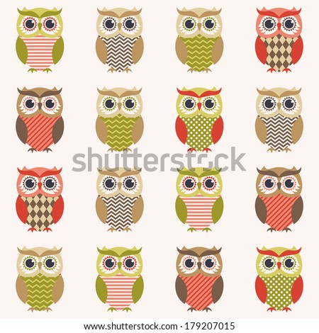 seamless owls cartoon wallpaper
