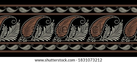 Seamless paisley border with leaves on black background