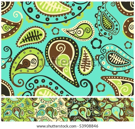 Seamless paisley pattern - different color versions.