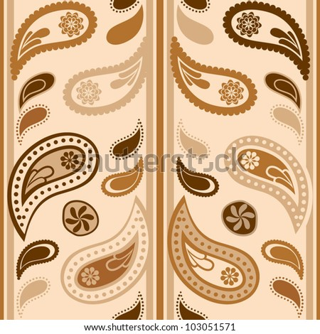 Seamless paisley pattern, ivory color variation. Pattern color swatch included