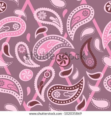 Seamless paisley pattern pink color variation pattern color swatch
