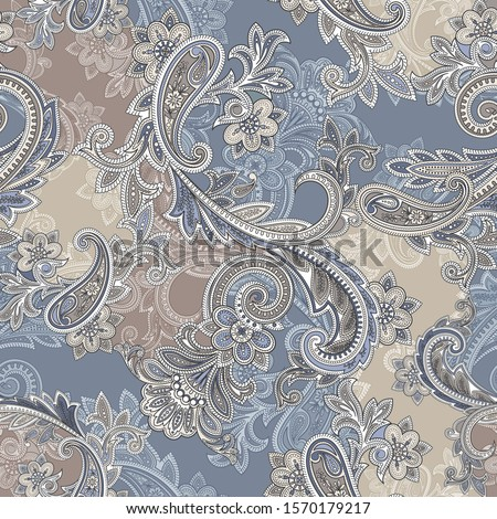 Seamless paisley traditional pattern on vector . Paisley ornamental pattern for textile design and fabrics