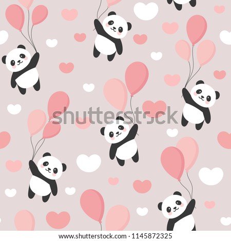 Seamless Panda Pattern Background, Happy cute panda flying in the sky between colorful balloons and clouds, Cartoon Panda Bears Vector illustration for Kids
