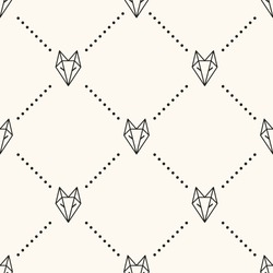 Seamless paper fox origami pattern background
