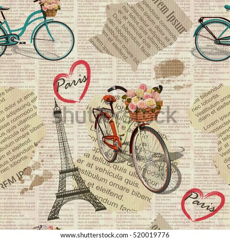 Seamless Paris vintage newspaper background.