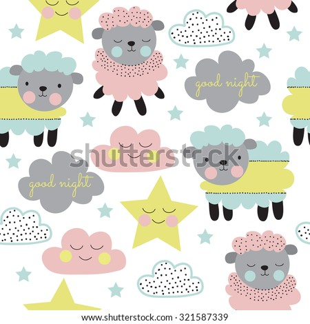 seamless pastel sheep with