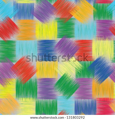 Seamless patchwork colorful pattern with grunge  striped squares