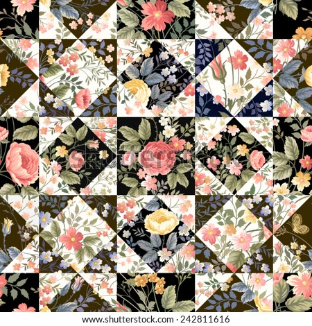 stock vector seamless patchwork pattern with flowers 242811616 - Каталог — Фотообои «Цветы»