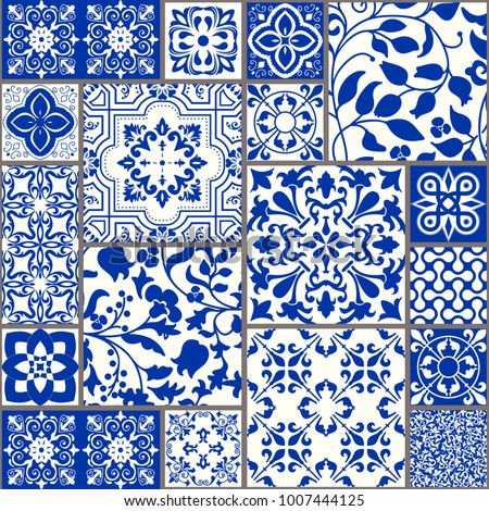 Seamless patchwork tile with Victorian motives. Majolica pottery tile, blue and white azulejo, original traditional Portuguese and Spain decor. vector #1007444125