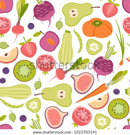 seamless patter with fruits and vegetables