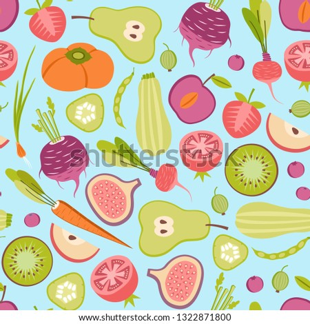 seamless patter with fruits and vegetables on blue background