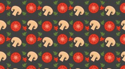 Seamless patter with pizza ingredients. Wallpaper, print, modern textile design, wrapping paper