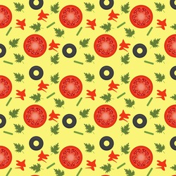 Seamless patter with pizza ingredients. Wallpaper, print, modern textile design, wrapping paper 2